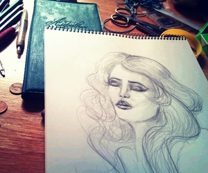 art, pencil, and table image