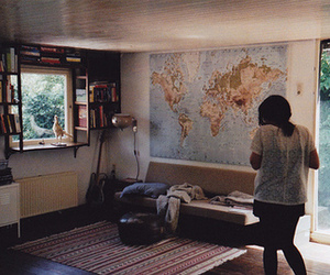 girl, book, and map image