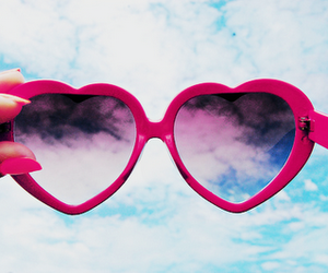 heart, sky, and sunglasses image