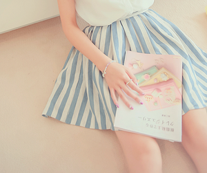 blue, book, and skirt image