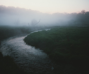nature, river, and fog image