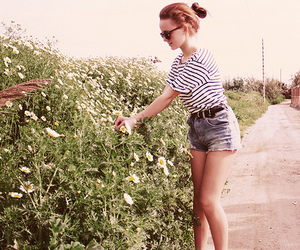 girl, flowers, and shorts image