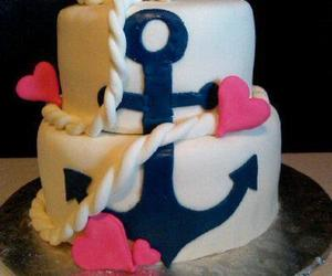 cake, anchor, and hearts image