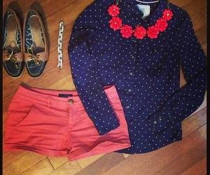 blue shirt, flats, and preppy style image