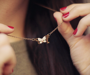 necklace, red nails, and cute image