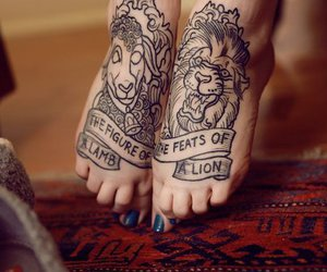 tattoo, lion, and feet image
