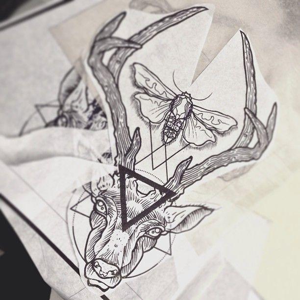 Deer Geometry Tattoo By Dasleitbild Tattoos