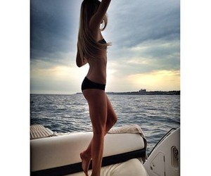 blonde, girl, and yacht image