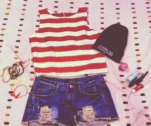 accessories, jeans, and stripes image