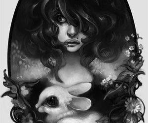art, girl, and rabbit image