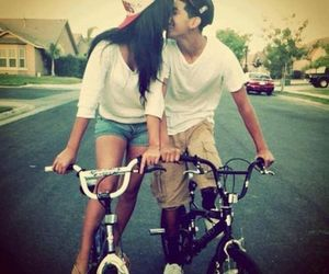 bicycle, couple, and cute image