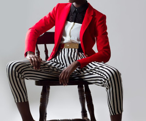 black woman, fashion, and stripes image