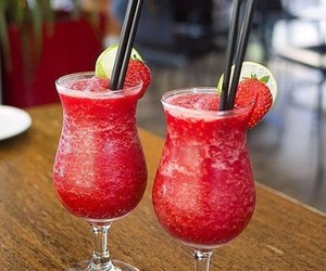 drink, strawberry, and cocktail image