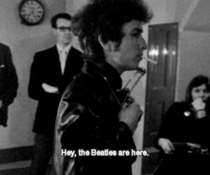 bob dylan, the beatles, and black and white image