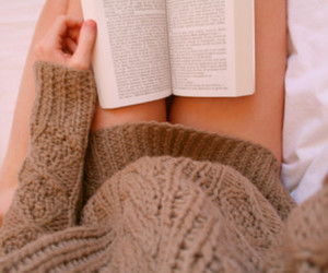 book, girl, and sweater image