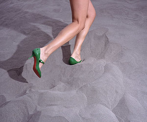 green, legs, and beach image