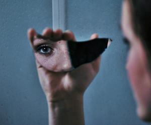 dark, eye, and mirror image