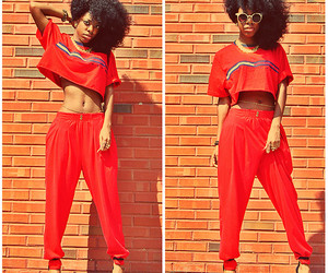 curly hair, outfit, and crop top image