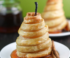 pastry, yum, and poached pears image