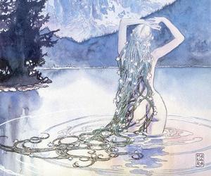 art, hair, and lake image
