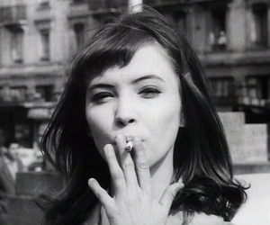 anna karina, black and white, and cigarette image