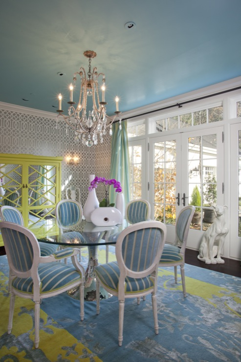 Turquoise Walls Eclectic Dining Room Sherwin Williams Spa Jacobson Interior Design