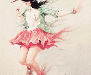 girl, jump, and art image