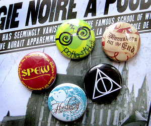 badge, button, and deathly hallows image
