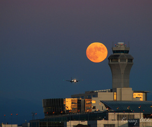 airport, moon, and flight image
