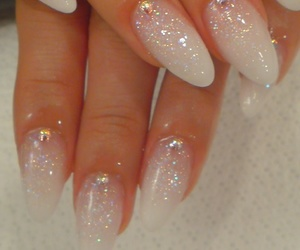 glitter, white nails, and claw nails image