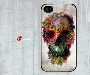 skull, flowers, and flora image