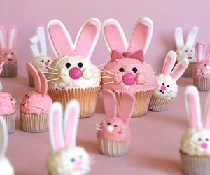 cupcake, bunny, and pink image