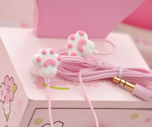 cat, earphones, and girly image