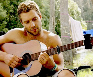 boy, topless, and guitar image