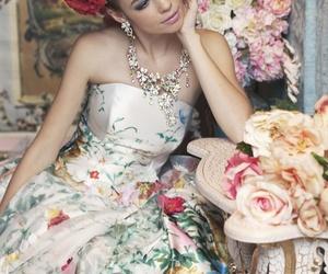 flowers, dress, and wedding dress image