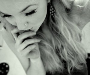 black and white, girl, and nose stud image