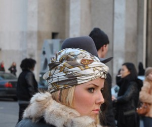 head band, scarf, and street style image