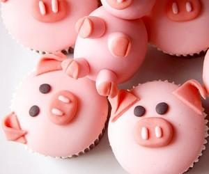 cupcake, pig, and pink image