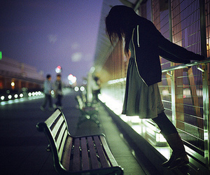 girl, night, and alone image