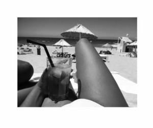 beach, drink, and girl image
