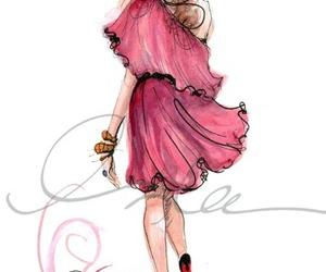girl, pink, and drawing image