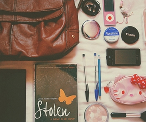 bag, diary, and pen image