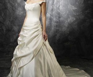 gown, off the shoulder, and wedding image
