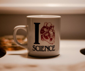science, heart, and mug image