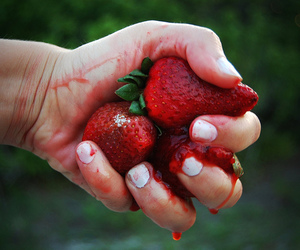 strawberry, hand, and red image