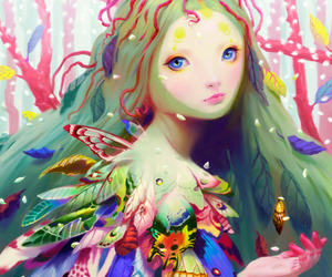 art, feathers, and fairy image