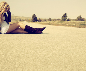 blonde, dress, and road image