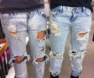 jeans, ripped, and ripped jeans image