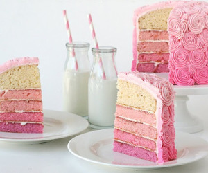 cake, pink, and milk image