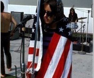 grace slick, american flag, and jefferson airplane image